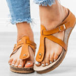 New Large Size Women Buckle Flip Flops Casual Wedge Sandals