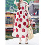 New Vintage Women Short Sleeve O-neck Polka Dot Print Dress