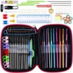 New 100pcs Ergonomic Crochet Hooks Set, Knitting Needle Kit & Zipper Organizer Case