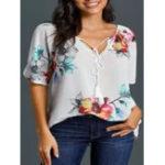 New Floral Print V-neck Short Sleeve Women Loose Blouse