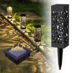 New Solar LED Path Torch Flame Lamp Landscape Lawn Light Outdoor Garden Decor