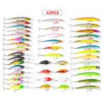 New ZANLURE 43PCS Mixed Models Fishing Lure Multi Colors Minnow Lure Crank Bait Tackle Set