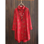 New Women Floral Print Button Lapel Long Sleeve Blouse