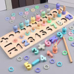 New Wooden Magnetic Fishing Game Rods Fish Childrens Kids Wood Magnet Board Toys Puzzle games