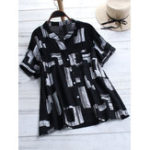 New Women Geometric Print Button Down Front Short Sleeve Blouse