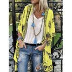 New Women Bohemian Print Half Sleeve Loose Kimono Cardigans