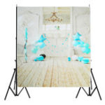 New 5x7FT Vinyl Blue Balloon Fireplace Wood Floor Backdrop Background Studio Prop