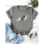 New Women Cartoon Cat Print Short Sleeve Crew Neck T-shirts