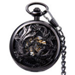 New JIJIA JX024 Dragon And Phoenix Mechanical Pocket Watch