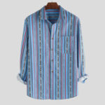 New Mens Striped Printing Chest Pocket Half Sleeve Fashion Shirt