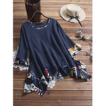 New Art Print Patchwork Round Neck 3/4 Sleeve Irregular Blouse