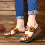 New SOCOFY  Colorful Circle Genuine Leather Wedge Sandals