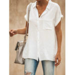 New Casual Lapel Short Sleeve Solid Color Women Blouse Shirts