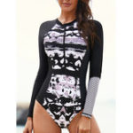 New Zipper One-Piece Long-Sleeved Sun Protection Swimwear
