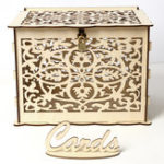 New DIY Wedding Gift Card Box Wooden Money Storage with Lock Decor Supplies