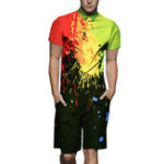 New Mens Fashion Street Pattern Printing Rompers Set Jumpsuit