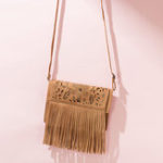 New Tassel Hollow Phone Bag Solid Color Leisure Crossbody Bag