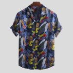 New Men Hawaiian Colorful Leaf Printed Short Sleeve Loose Shirts
