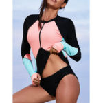 New One-Piece Zipper Long-Sleeved Sun Protection Swimwear
