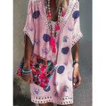New Lace Stitching V-neck Polka Dot Print Short Sleeve Dress