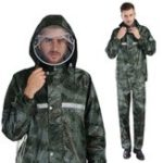 New Camouflage Raincoat Camping Hiking Motorcycle With Waterproof Face Mask Adult Rainwear Suits