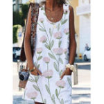 New Women Casual Sleeveless Floral Print Button Dress