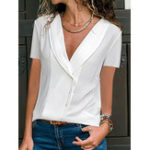 New Women Short Sleeve V-neck Button Loose Casual Blouse