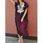 New Batting Sleeve Kaftan Bohemian Floral Split Maxi Dress