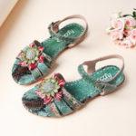 New SOCOFY Serpentine Floral Hook Loop Genuine Leather Sandals