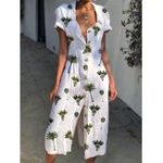 New Women Shirt Collar Floral Print Beach Casual Dress
