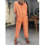 New Solid Color Button Pocket Casual Jumpsuits