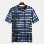 New Mens Tie-dyed Striped Tees Round Neck Summer Casual T-shirts