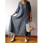 New Casual Women Solid Color Loose Crew Neck Dress with Belt