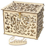 New DIY Wedding Gift Cards Box Wooden Money Storage with Lock Decor Supplies