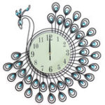 New 54x54cm Peacock Large Wall Clock Grow In Dark Living Room Bedroom House Decorations