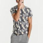 New Men Floral Printed Crew Neck Slim Short Sleeve T-Shirts