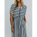 New Button Pocket Striped Dress