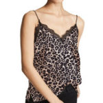 New Lace Stitching Leopard Print Tops