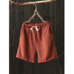 New Women Casual Cotton Linen Plain Elastic Waist Shorts