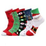 New 5 Pairs Of Socks Christmas Crew Theme Socks Sports Fitness Slimming Outdoor Sock Warm Breathable Socks