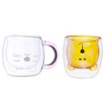 New Cat Bear Glass Cup Double Wall Clear Tea Coffee Milk Drink Mug Container Decor