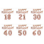 New 18/21/30/40/50/60th Rose Gold Happy Birthday Foil Balloon Banner Kit Party Decorations