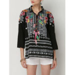 New Women Ethnic Embroidery Turn-down Collar Loose Blouse