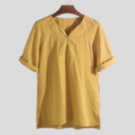 New Mens Fashion V Neck Cotton Solid Color Casual T-Shirts