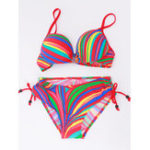 New Low Waist Split Colorful Striped Split Bikini