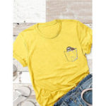New Printed Cartoon Crew Neck Short Sleeve Women Loose T-shirts