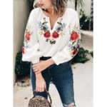 New Embroidery V-neck Long Sleeve Women Loose Blouse