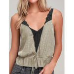 New Women V Neck Backless Sleeveless Strap Casual Tank Tops