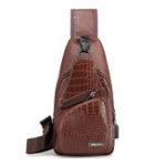 New Men Resistant Anti Theft Crocodile Pattern Chest Bag