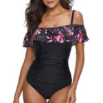 New One-Piece Ruffled Print Backless Bikini